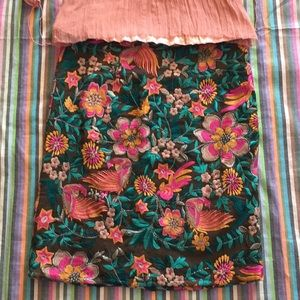 Anthropologie embroidered skirt